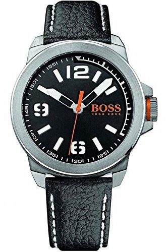 Men's Hugo Boss Orange Black Dial Black Leather Watch 1513151