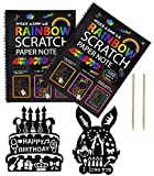 2 Packs Art Activity Books,Mega Value 20 Sheets Scratch Art Paper / Doodle Pad (10.2'' x 7.5'') with Wooden Stylus and 2 Pcs Rulers