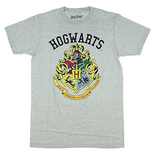 Harry Potter Hogwarts Crest Mens Grey T-Shirt (Ravenclaw Quidditch Robes)