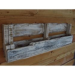 Reclaimed pallet book shelf and rack, distressed white cream colored bottle or book rack, farmhousefurnituretx