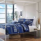 2 Piece Classic Patchwork Design Quilt Set Twin Size, Featuring Reversible Plaid Pattern Comfortable Bedding, Traditional Lodge Inspired Fun Boys Teens Bedroom Decoration, Blue, White, Multicolor