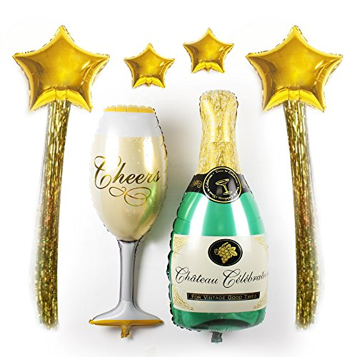 Value Pack- XXL Giant Foil Balloons Kit- Shooting Star Shaped Foil Balloons with Champagne Bottle & Wine Glass Shaped Balloons