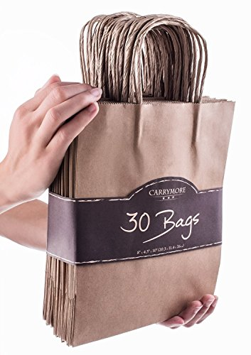 Kraft Paper Gift Bags with Handles - Best For Birthday, Shopping, Wholesale, Merchandise, Wedding - Party Favor Bags - Reusable Durable Small Brown Paper Bags Bulk of 30 pcs 8 x 4.75 x 10.5 Inches