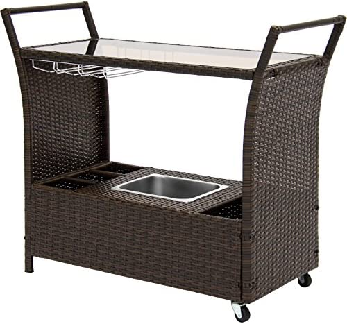 Best Choice Products Outdoor Patio Wicker Serving Bar Cart W Ice Bucket, Wine Rack- Brown