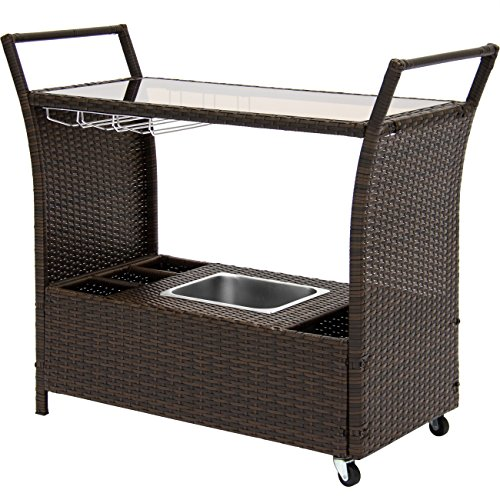 Best Choice Products Outdoor Patio Wicker Serving Bar Cart W/Ice Bucket, Wine Rack- Brown ()