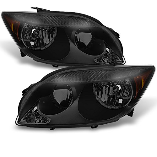 For Scion tC Black Smoked Headlights Head Lamps Driver Left + Passenger Right Side Replacement Pair Set