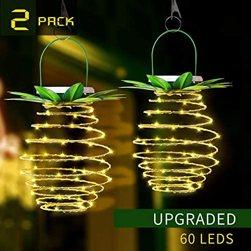 OUTYLT 2 Pack 60LEDS Pineapple Solar Lights Outdoor Solar Hanging Solar Lantern with Handle Waterproof Copper Wire Fairy Light Outdoor Party Lamp for Festival Wedding Birthday Plants Decor Warm White