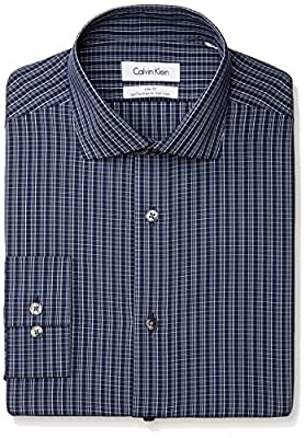 Calvin Klein Men's Slim Fit Non Iron Color Ground Check