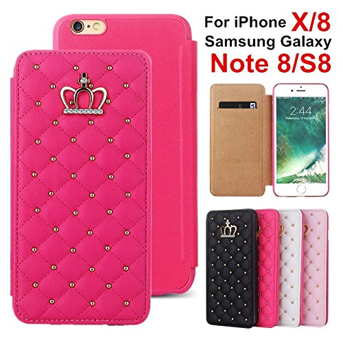 Candy Color Metal Nail Bling Imperial Crown Leather Wallet Credit Card Holder Case Cover For iPhone 6 6S Plus 7 7S Plus Samsung Galaxy S5 S6 S7 - Rivets Ip