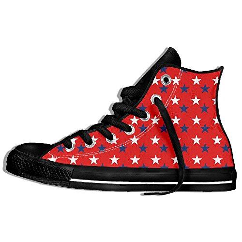 Baskets Montantes Classiques Toile Chaussures Anti-dérapant Patriotique Étoiles Occasionnels Marche Pour Hommes Femmes Noir