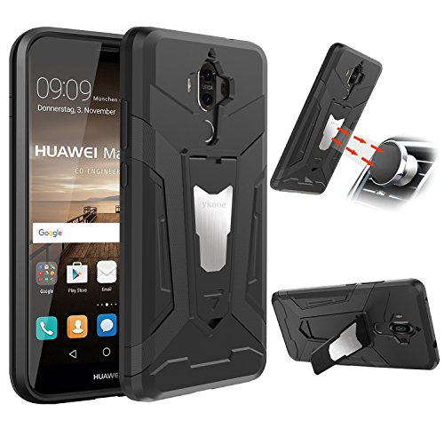 ykooe Huawei Mate 9 Case, Huawei Mate 9 Dual Layer Hybrid Phone Cases Cover Shockproof with Kickstand for Huawei Mate 9 fit Magnetic Car Mount - Black