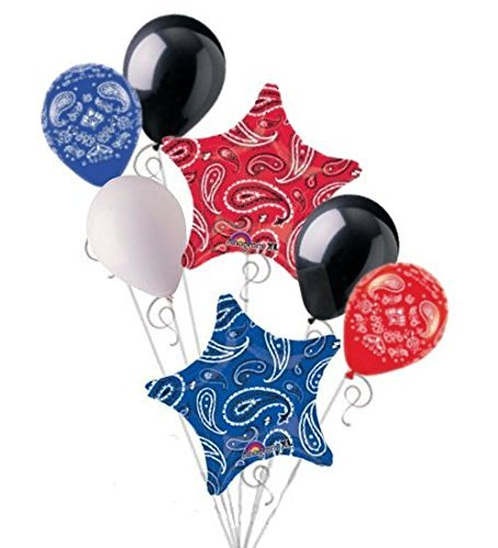 7 pc Red & Blue Paisley Bandana Star Balloon Bouquet Party Decoration Birthday -