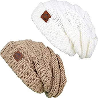 885718a442b F2-2-1325 FJ Oversized Beanie Bundle - Camel   Ivory (2 Pack) at ...