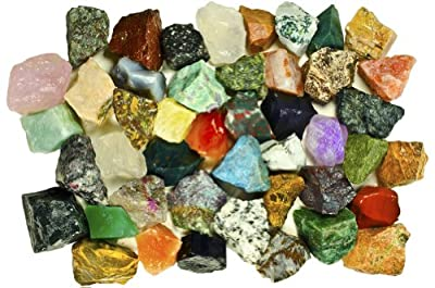 Fantasia Materials: Exclusive Premium ASIA Stone Mix - Raw Natural High Quality Crystals and Rocks for Cabbing, Cutting, Lapidary, Tumbling, Polishing, Wire Wrapping, Wicca & Reiki Healing
