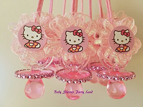 e4fd3805b 12 Hello Kitty Pink Pacifier Necklaces Baby Shower Game Favors ...