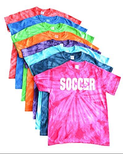 Soccer Tie Dye T-Shirt- Soccer Ball Heart Logo (Royal, (Soccer Ball Logo)