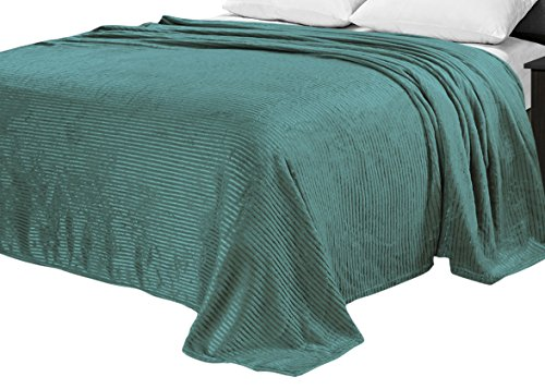 (Sweet Home Collection Plush Satin Pin Striped Blanket Micro Fleece Polyester Blanket King)