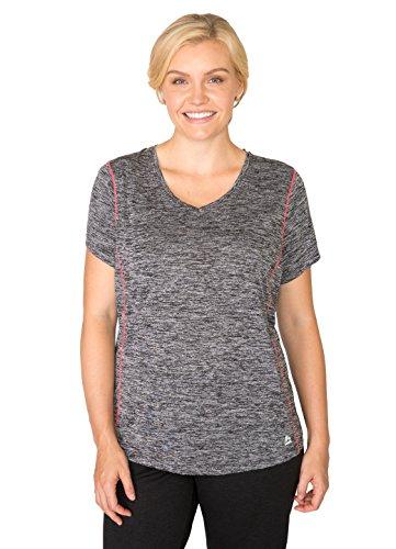 RBX Active Women's Plus Size Space Dye Short Sleeve V-Neck Tee Shirt Black 1X