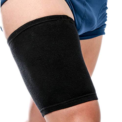 genmine Thigh Wrap Hamstring Brace Support Compression Sleeve for Pulled Hamstring Strain Injury Tendonitis Rehab and Recovery, Fits Men and Women, Black ()