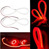 red automotive led light strips - 2Pcs 23 Inches Red LED Strip Tube Light, YANF Car Flexible Daytime Running Lights DRL Headlight Decorative Lamp Kit and Turn Signal Light - Red