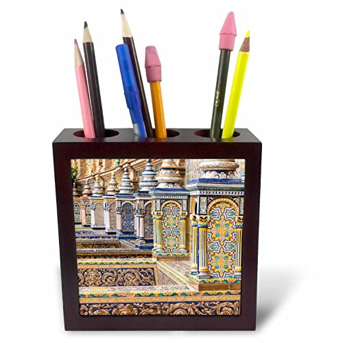 3dRose Danita Delimont - Spain - Spain, Andalusia, Seville. Plaza de Espana ornately decorated. - 5 inch tile pen holder (ph_277899_1) by 3dRose