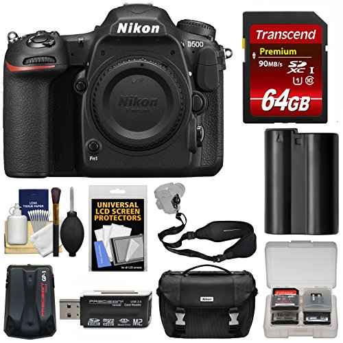 Nikon D500 Wi-Fi 4K Digital SLR Camera Body with 64GB Card + Case + Battery + Strap + GPS Adapter + Kit ()