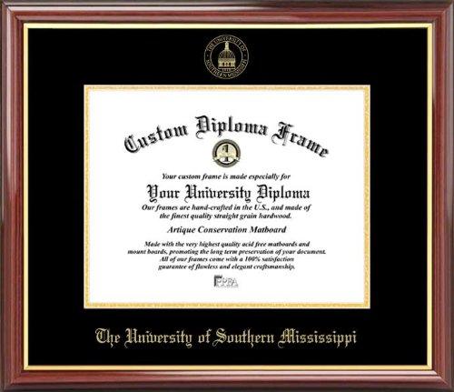 Univ. of Southern Mississippi Golden Eagles - Embossed Seal - Mahogany Gold Trim - Diploma Frame (Mississippi Framed Southern Eagles Golden)