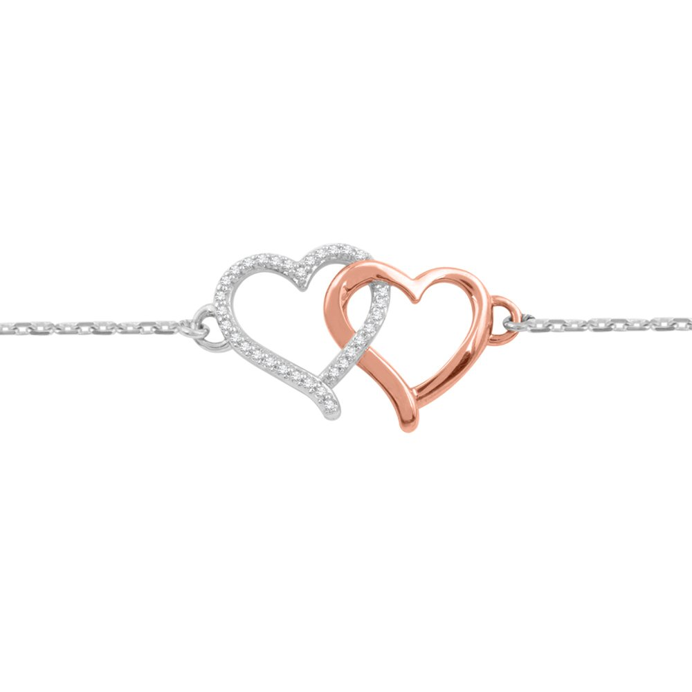 Diamond Heart Bracelet in Sterling Silver /10K Rose Gold