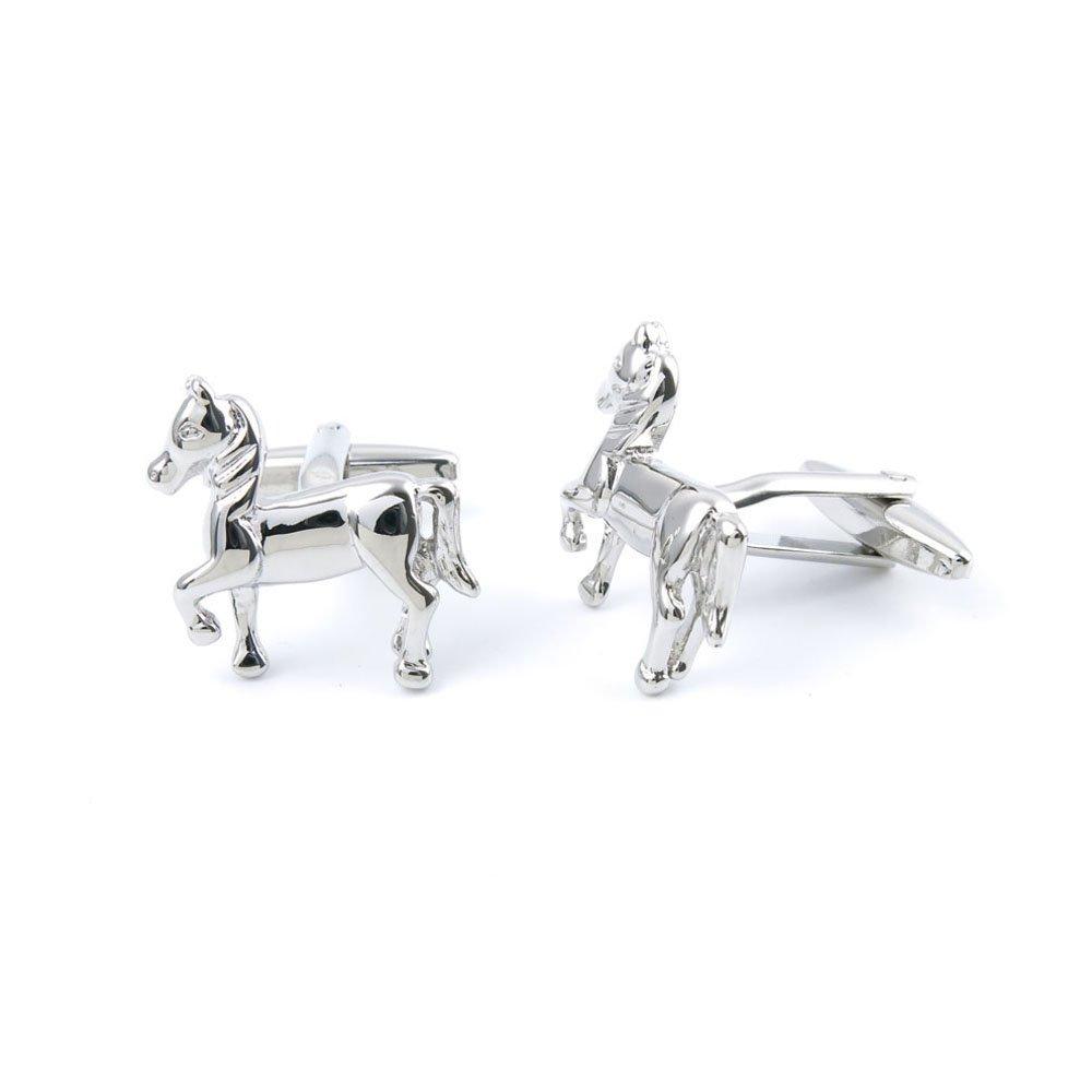 Men Boy Jewelry Cufflinks Cuff Links Party Favors Gift Wedding OP044 Silver Horse Pegasus