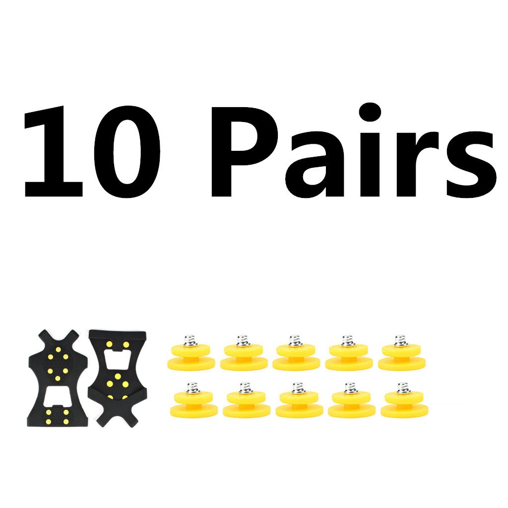 Ice Grips, EONPOW Ice & Snow Grips Cleat Over Shoe/Boot Traction Cleat Rubber Spikes Anti Slip 10 Steel Studs Crampons Slip-on Stretch Footwear (XL:10Pack)