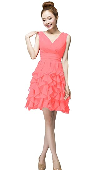 7c64a368d60 Vimans® Sexy Short Coral Layered Chiffon Dresses for Ladies for Cocktail   Amazon.co.uk  Clothing
