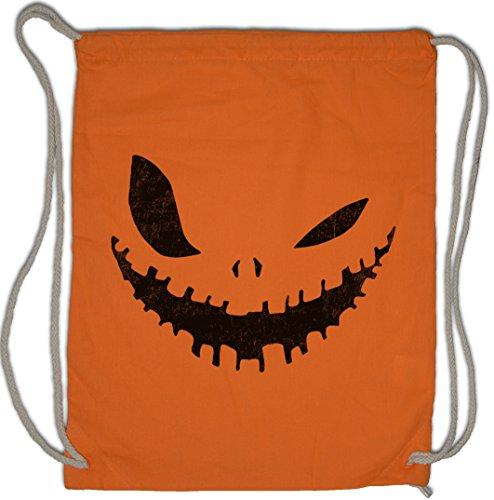 GLOWING HALLOWEEN PUMPKIN III Drawstring Bag Gym Sack Kürbis Horror Verkleidung glühend leuchtend Trick or Treat Samhain USA Creature Splatter Gore ()