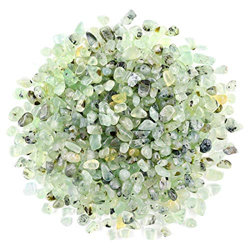 Swpeet Ruby in Fuchsite Tumbled Chips Stone Crushed Pieces Irregular Shaped Stones 0.3-0.5 inch 1pound(About 460 Gram) (Green Prehnite)