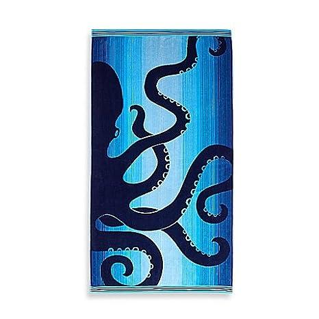 Toalla de playa de la toalla de doble capa Jacquard Ombre pulpo grande 100% algodón en color azul: Amazon.es: Hogar