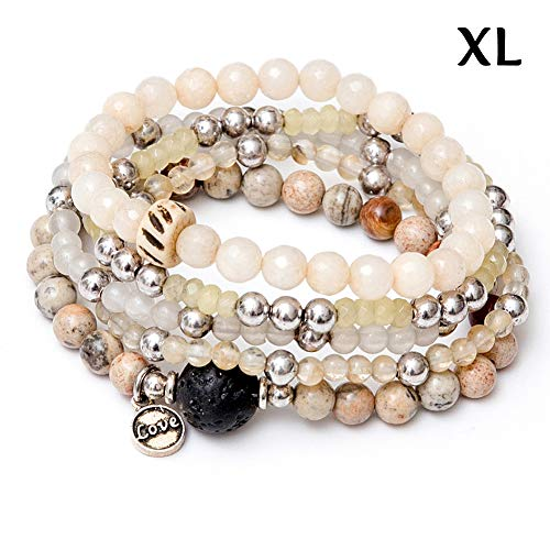 (tom+alice Beaded Bracelets for Women Stackable Handcut Natural Stones 5 pcs Ermish Stretch Set Bangle)