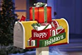 Solar Powered Lighted Christmas Happy Holidays Mailbox Cover Present Gift Box Sawg Decoration