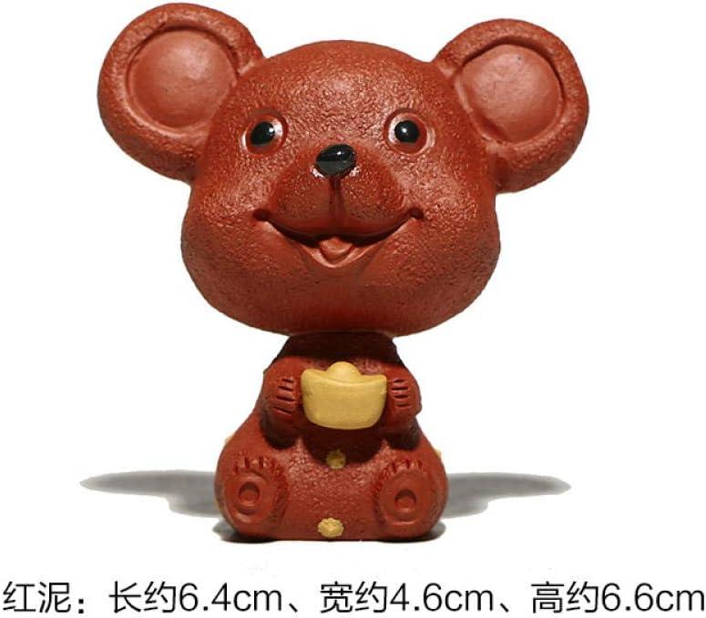 GBCJ Accesorios para Juegos de té Zisha Meng Rata Adornos para Mascotas Rata para atesorar Zisha Escultura del Zodiaco Zisha Lucky Set de té Accesorios-Ratatouille Red Clay jnkdkd459