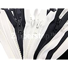"ZipperStop Wholesale - 13pcs Vislon Jacket Zipper 36"" YKK #10 1 Black 2 White, 30"" YKK #5 5 Black 5 White separating (special) Made in USA"