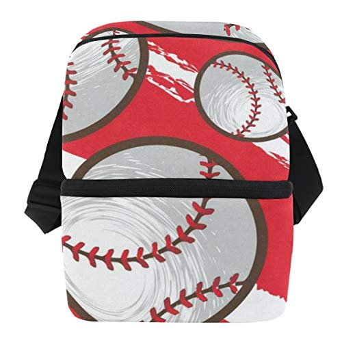 (Lunch Bag Bright Baseball Reusable Cooler Bag Mens Leakproof Food Box Zipper Tote Bags for)