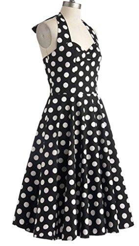 De Vestido Vendimia Eyekepper Hepburn' Oscilación Del La 1950 Rockabilly Negro 'audrey CqwYwpxT