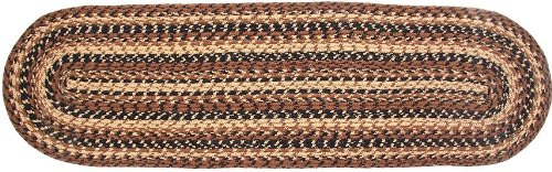 IHF Home Decor Oval Table Runner Braided Jute Rug Cappuccino