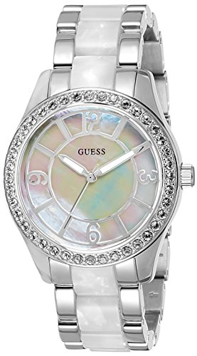 Guess Goddess Mother Of Pearl Dial Ladies Crystal Watch W0074L1