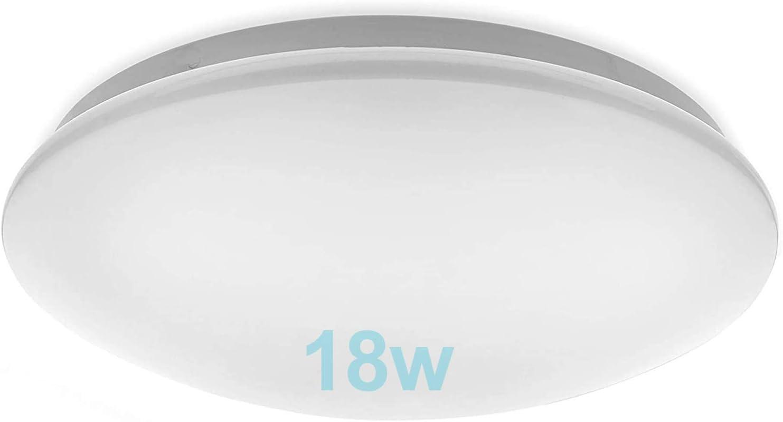 Lámpara LED de Techo Moderna 18W,TTKY Plafón Led Redonda Ultra Delgado Downlight Blanco Cálido 5500K 1500LM adecuada para Dormitorio, Pasillo,Cocina, Balcón,Baño[Clase de eficiencia energética A++]