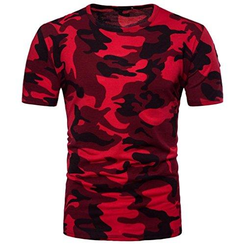 zarupeng Camiseta Hombre,Camiseta de Camuflaje Hombre Militares Camiseta de manga larga con estampado de camuflaje y estampado de camuflaje para hombre Rojo