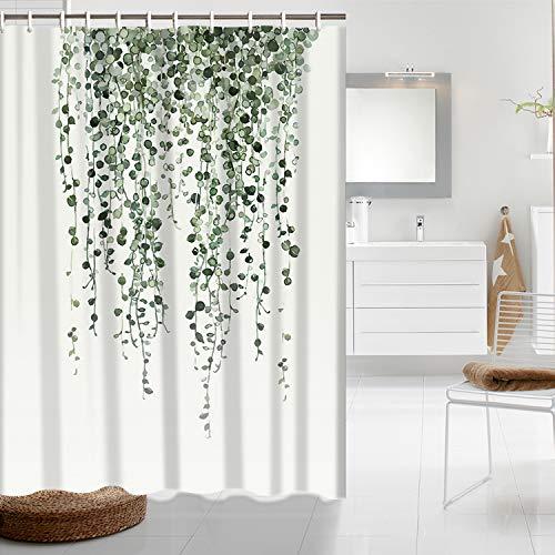 Maccyafst Shower Curtain Green Eucalyptus Leaves Bathroom Curtain Watercolor Plants Floral Shower Curtain Waterproof Bathroom Decor Fabric Shower Curtain Set with Hooks (Cute Curtain)