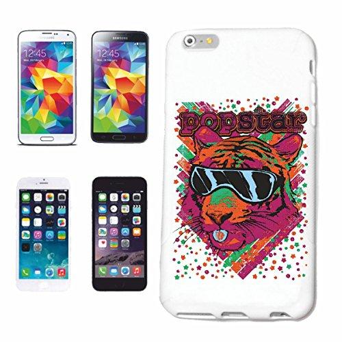 """cas de téléphone iPhone 6+ Plus """"POP STAR TIGER AVEC LUNETTES TIGER WILD ANIMAL BIG CAT LEOPARD BIG CAT"""" Hard Case Cover Téléphone Covers Smart Cover pour Apple iPhone en blanc"""
