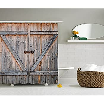 Ambesonne Fabric Shower Curtain Country Decor By, Old Wooden Garage Door  American Style Decorations For