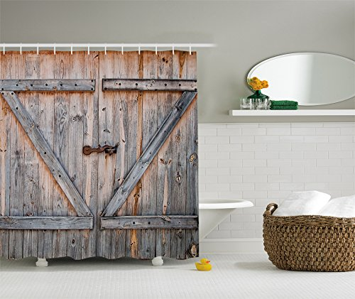 Ambesonne Fabric Shower Curtain Country Decor by, Old Wooden Garage Door American Style Decorations...