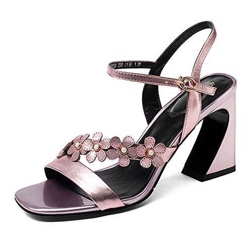 Court Buckles Women's High Prom Shoes Dress Sandals Party Sandals Toe Open Slingback Thick heeled Evening Pink wzgqFw