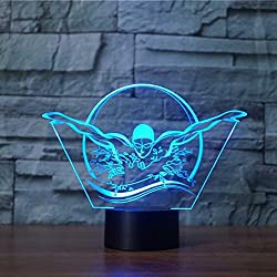 3D Swimming Modelling Night Light Touch Table Desk Optical Illusion Lamps 7 Color Changing Lights Home Decoration Xmas Birthday Gift